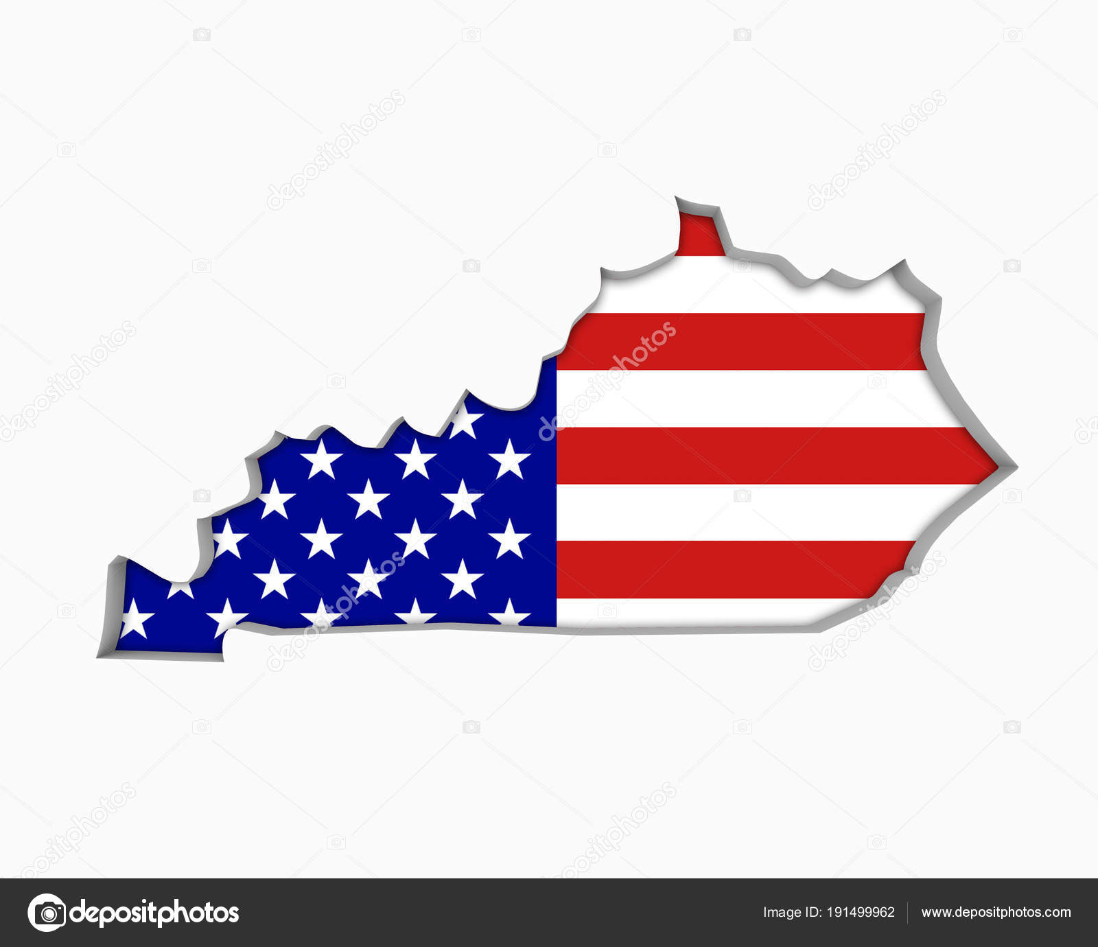 Kentucky Usa Flag Stars Stripes Map Illustration Stock Photo