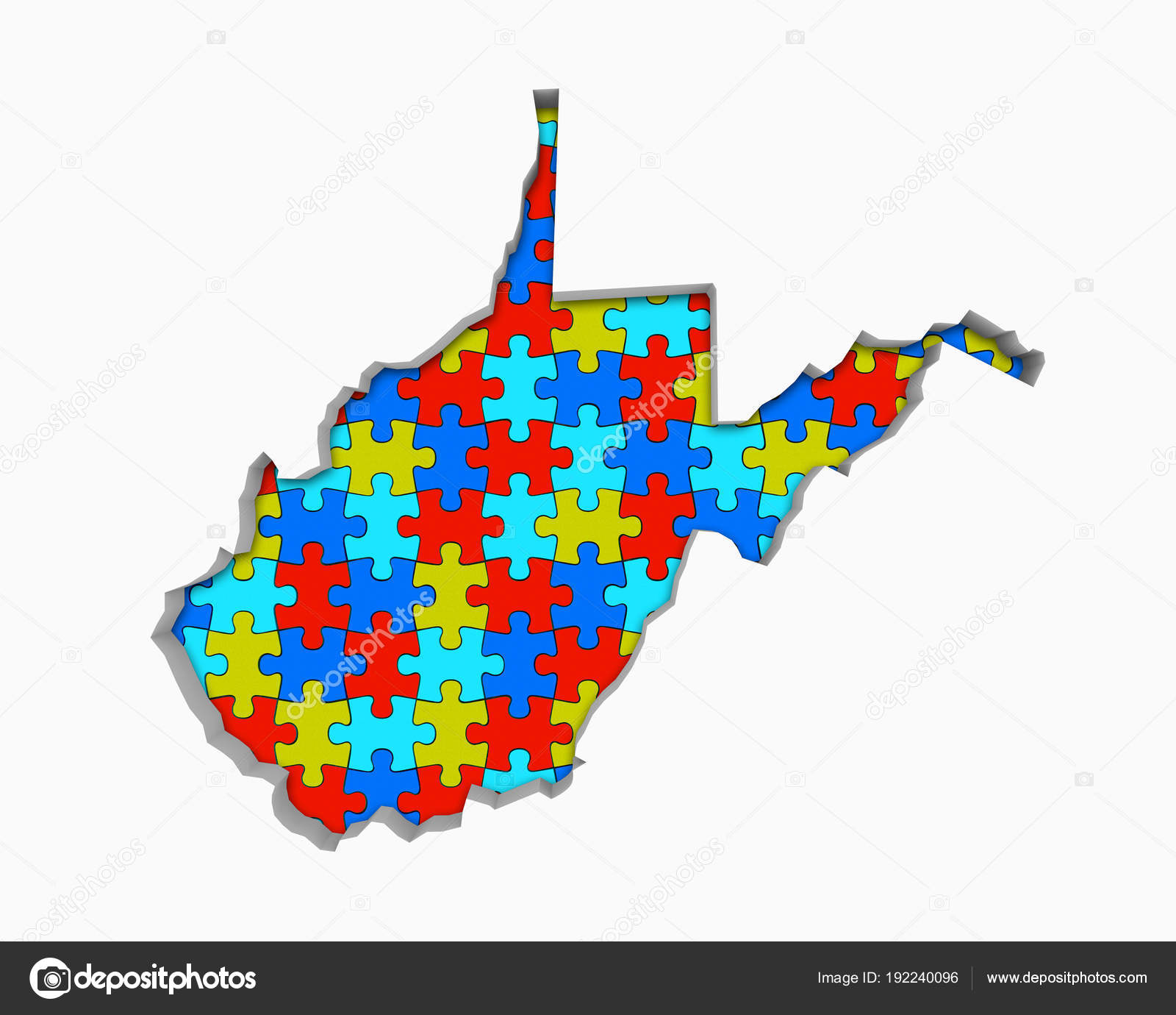 Map Of Virginia And West Virginia Together.West Virginia Puzzle Pieces Map Working Together Illustration