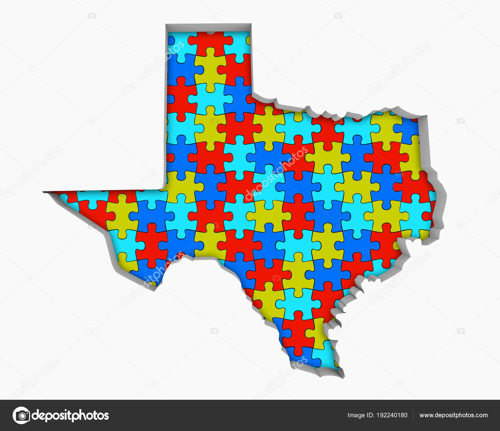 Texas Puzzle Pieces Map Working Together Illustration Stock Photo - Texas map puzzle