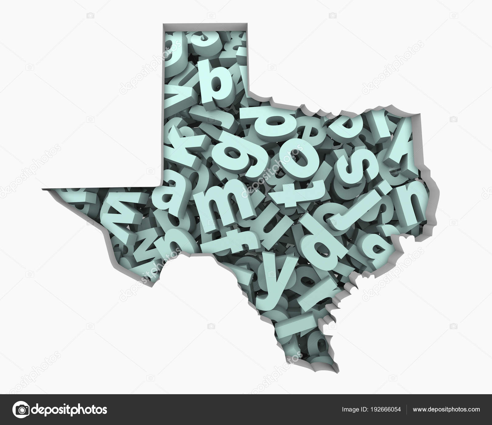 Letters Collage Shape Texas State Illustration Education Concept