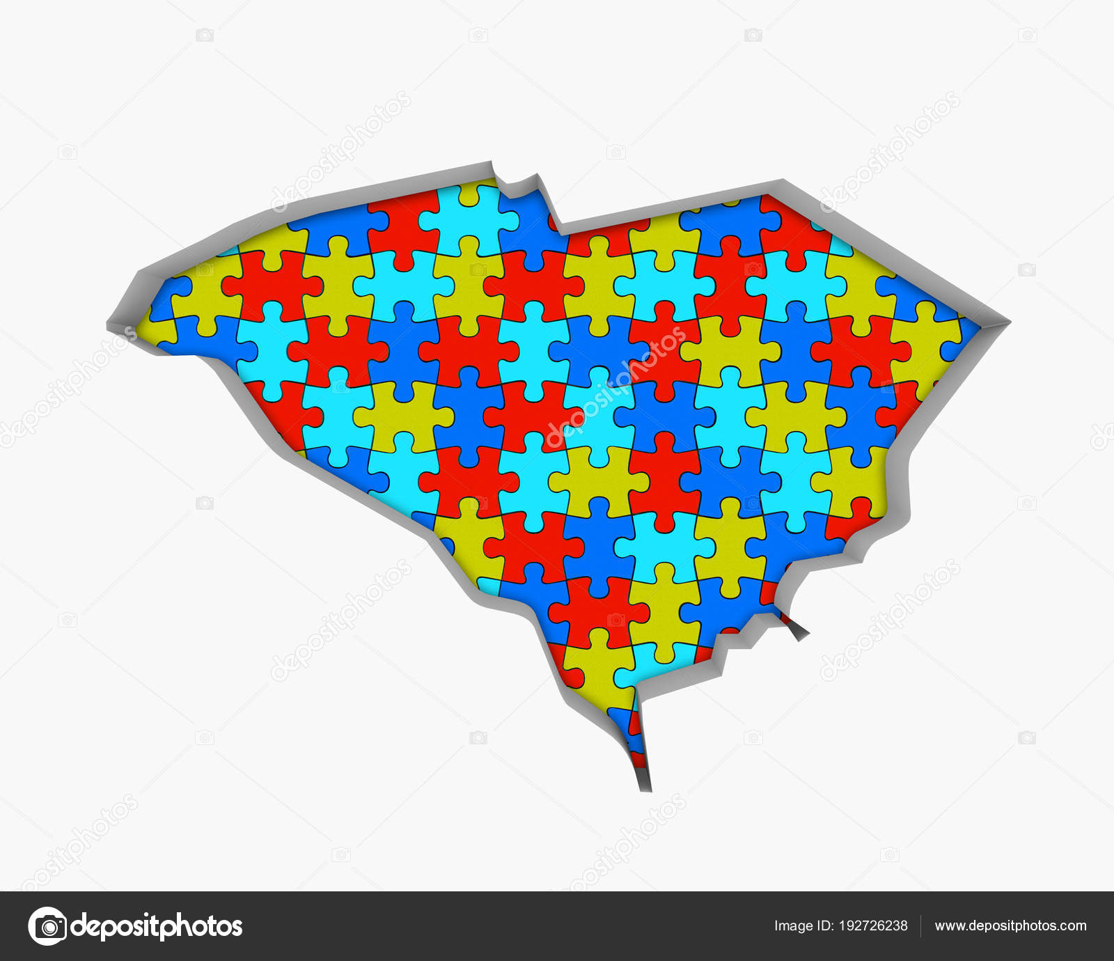 Bunte Puzzle Stücke Form Von South Carolina State Karte Usa ...