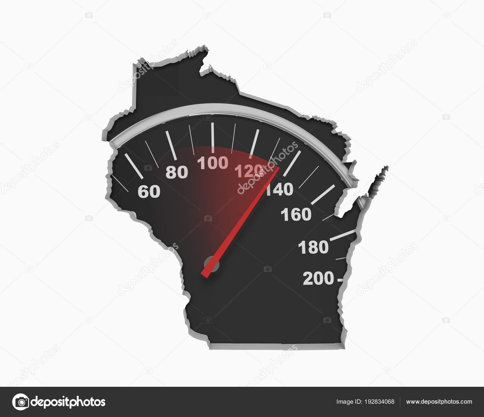 Speedometer Collage Shape Wisconsin State Map Usa Illustration