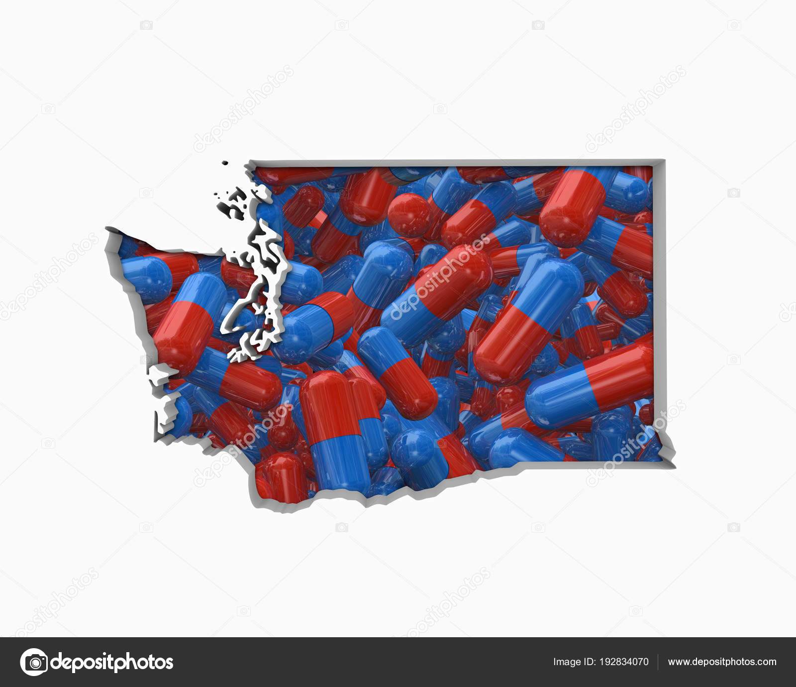 Pills Collage Shape Washington State Illustration Health Care