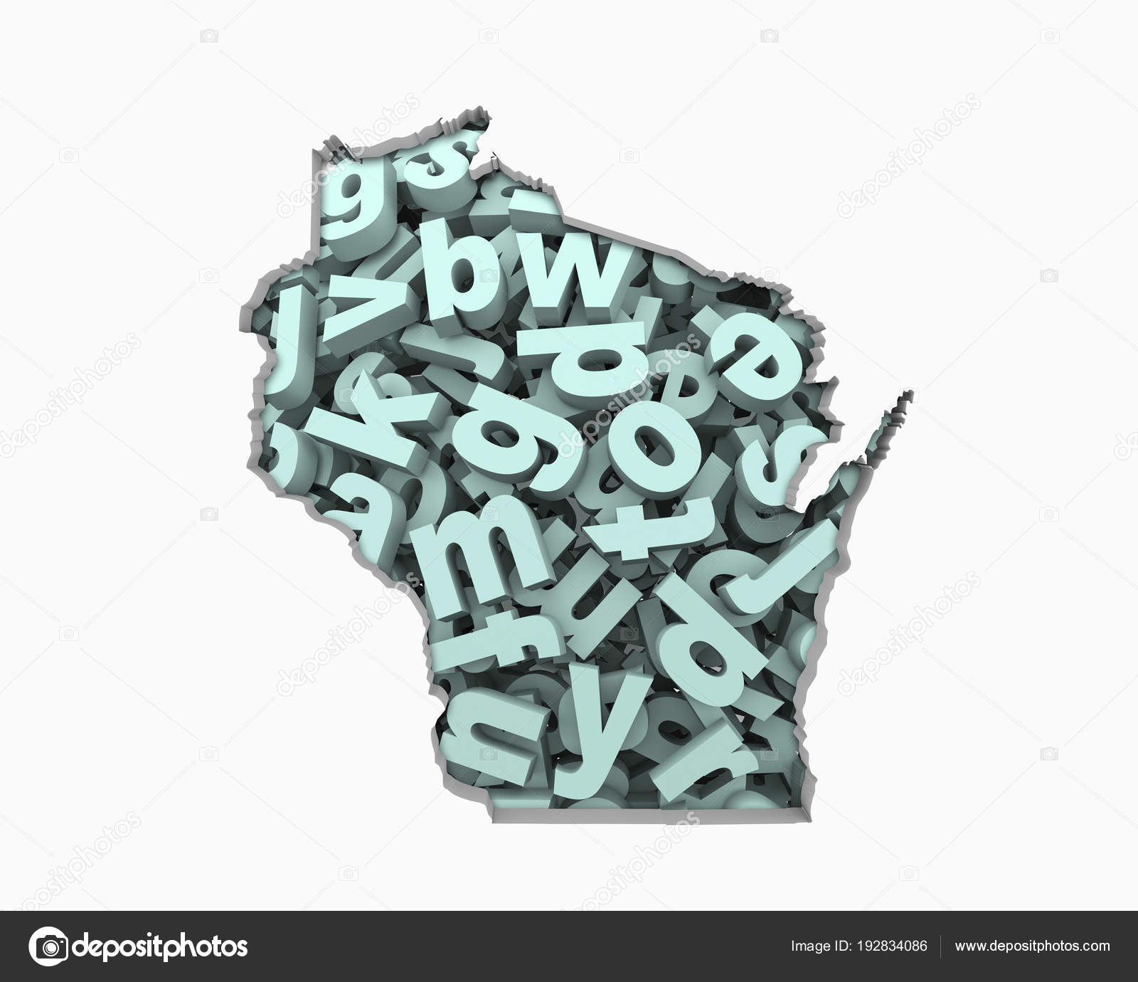 Letters Collage Shape Wisconsin State Illustration Education Concept