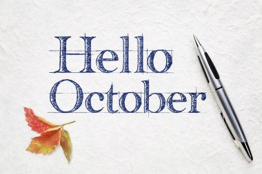 Hello October greeting card