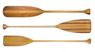 wooden canoe paddles isolated