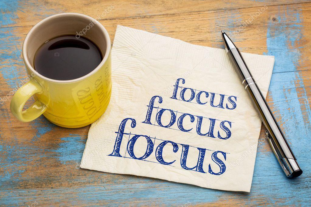 Focus - concept on napkin