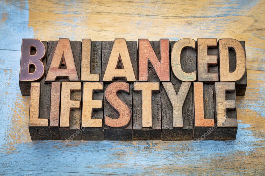 balanced lifestyle word abstract in wood type stock photo