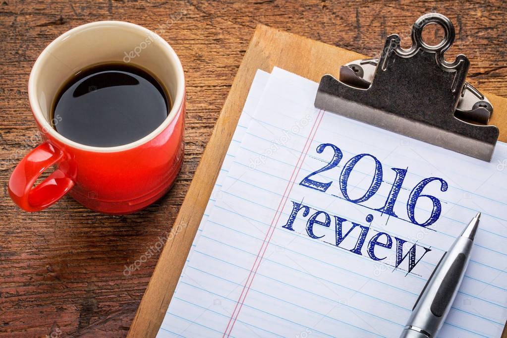 2016 review on blackboard on clipboard