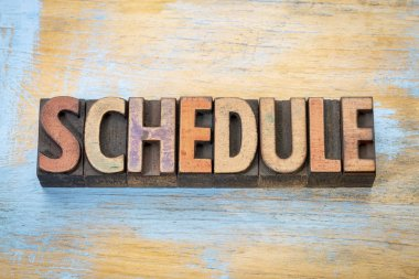 schedule word in wood type