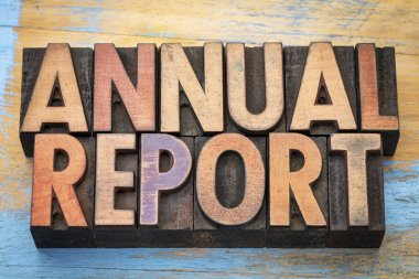 annual report word abstract in wood type