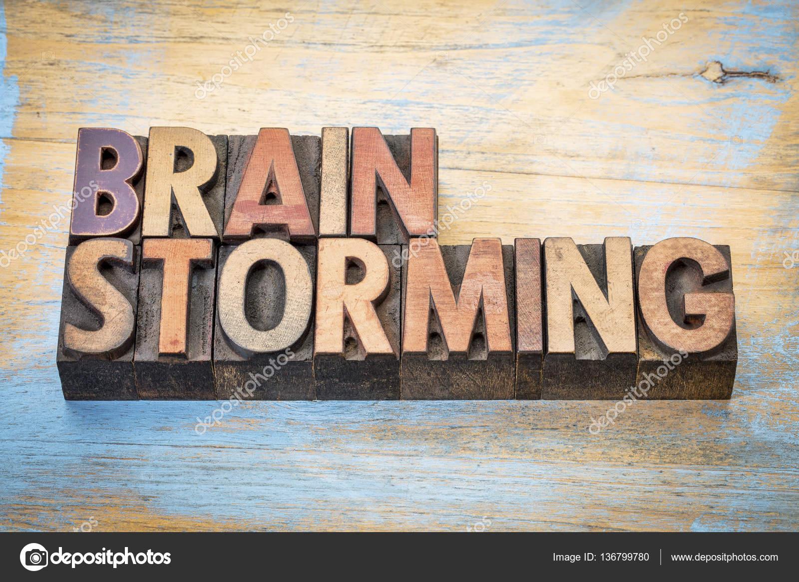Zusammenfassung der Brainstorming-Wörter in Holz-Art — Stockfoto ...