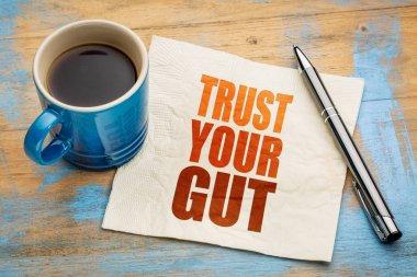Trust your gut word abstract