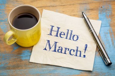 Hello March on napkin