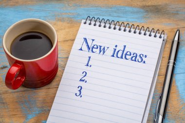 New ideas list in notebook