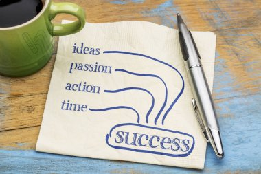 success ingredients concept on napkin