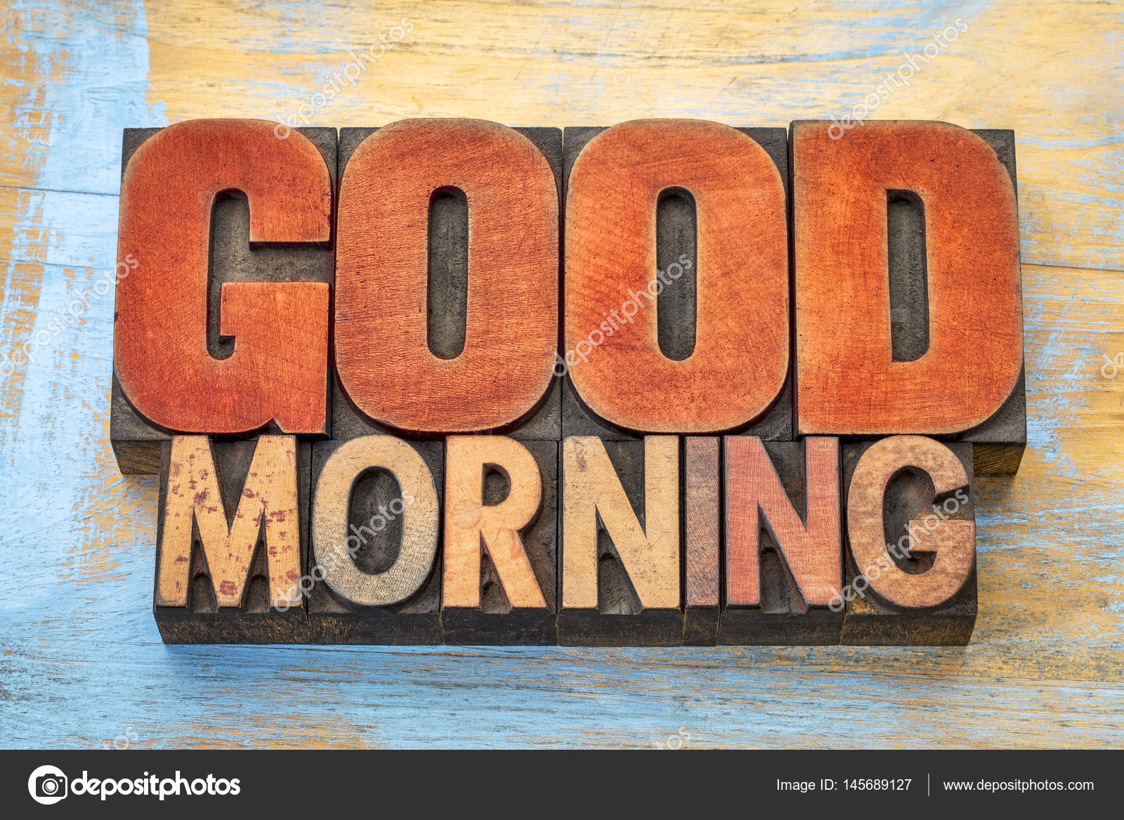 Guten Morgen geben Sie Wort abstrakt in Holz — Stockfoto ...