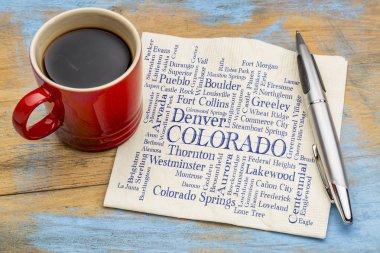 major cities of Colorado word cloud on napkin