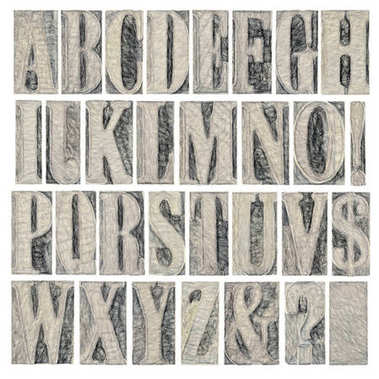 Alphabet in modern letterpress wood type printing blocks, a collage of 26 isolated letters, question mark, exclamation point, ampersand and dollar sign, digital painting (charcoal) effect stock vector