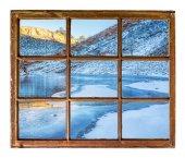 horské jezero v zimě okno zobrazení