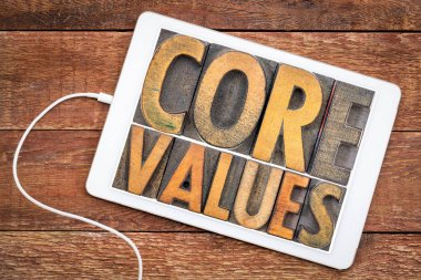 core values word abstract on tablet
