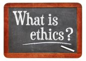 Fotografie What is ethics? A question on napkin.? A question on blackboard