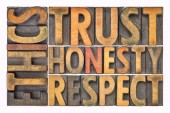 Fotografie ethics, trust, honesty, respect word abstract in wood type