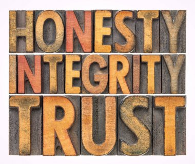 honesty, integrity, trust word abstract in wood type