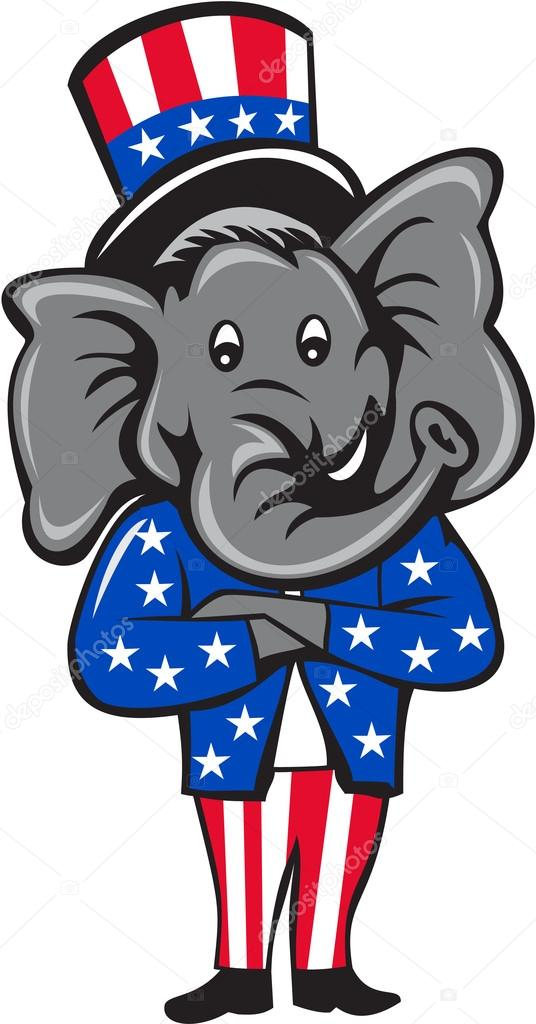 republican elephant mascot arms crossed standing cartoon stock