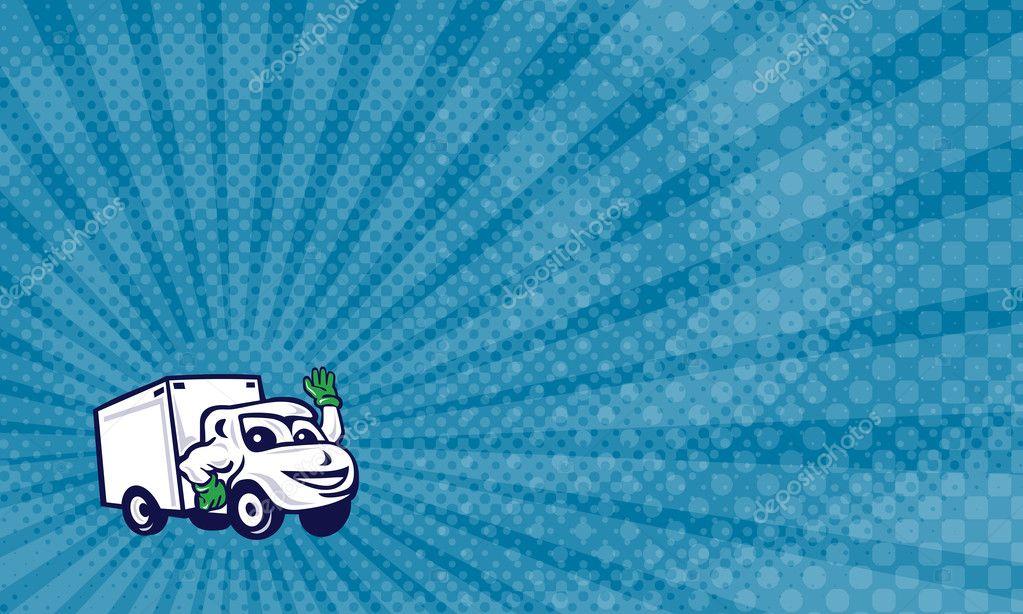 Carte De Visite Montrant LIllustration Dun Refoulement Ferm Van Camion Agitant Vu Davant Sur Fond Blanc Isol Fait Dans Le Style Dessin Anim