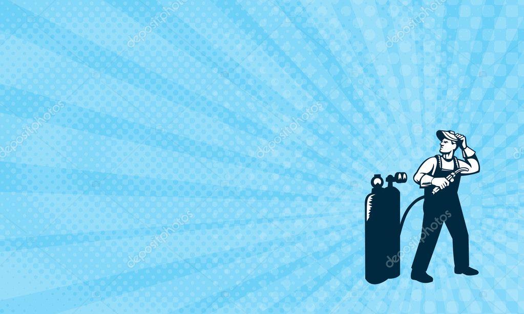 Carte De Visite Montrant LIllustration Douvrier Soudeur Permanent Avec Visire Chercher Du Ct Holding Chalumeau Rservoir Vu Lavant Sur Fond
