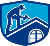 Dachdecker Bauarbeiter arbeitet Schild retro