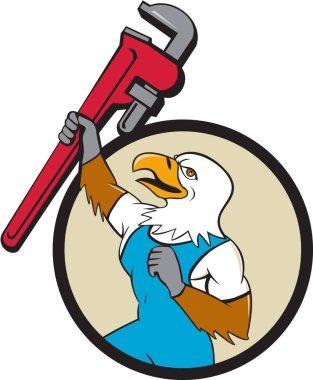 Plumber Eagle Raising Up Pipe Wrench Circle Cartoon