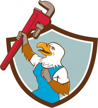 Eagle Plumber Raising Up Pipe Wrench Crest Cartoon