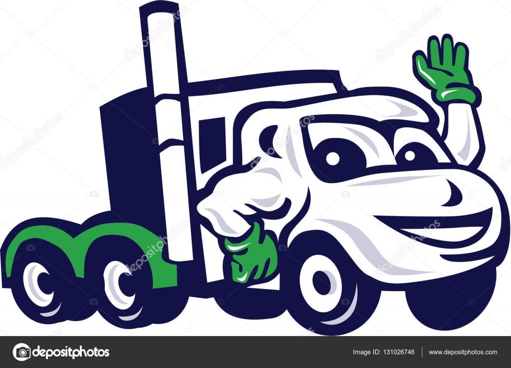 Semi Truck Rig Waving Cartoon Stock Vector