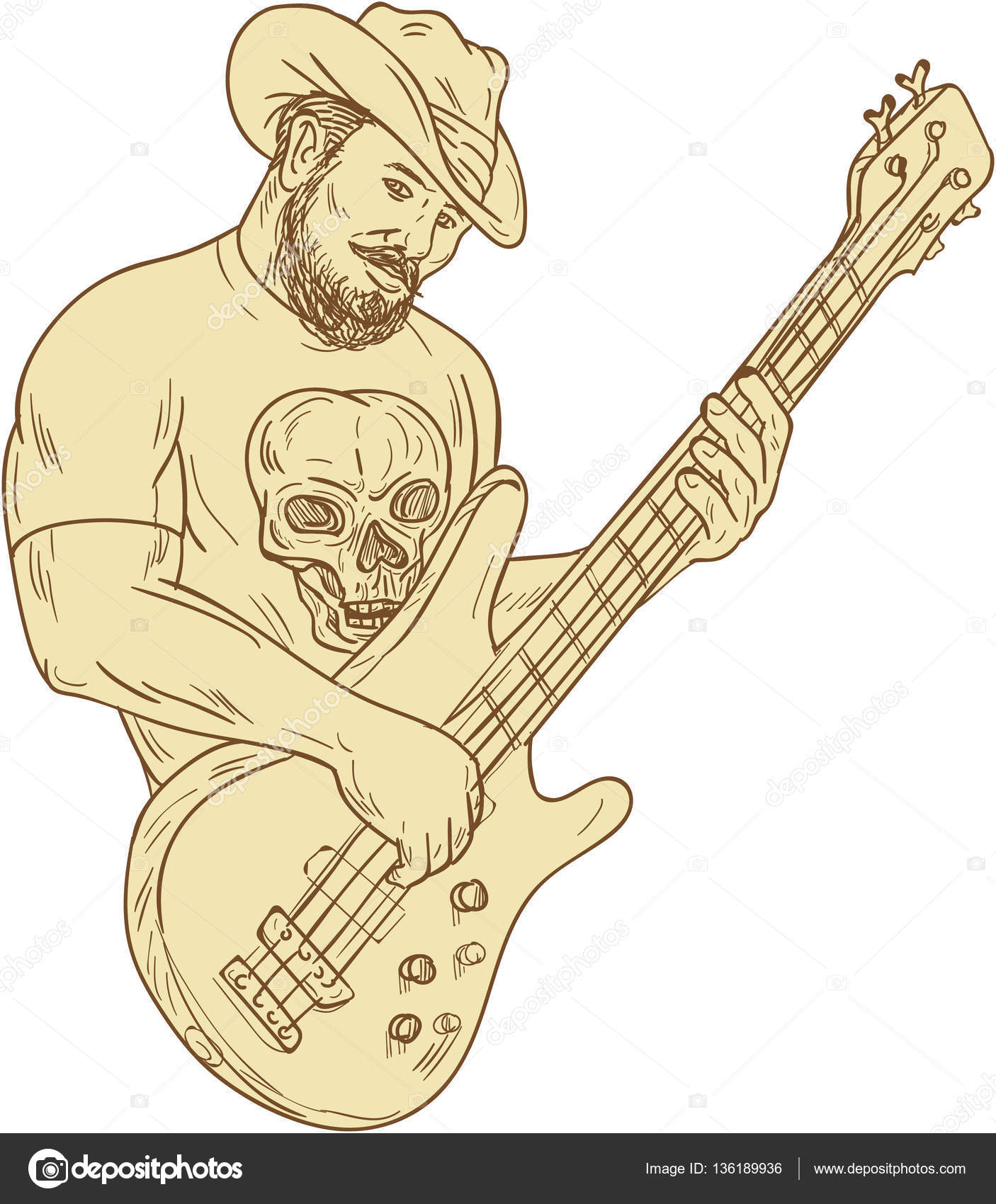 Drawing Sketch Style Illustration Of A Bearded Cowboy Wearing Hat Holding Playing Bass Guitar Viewed From Front Set On Isolated White Background