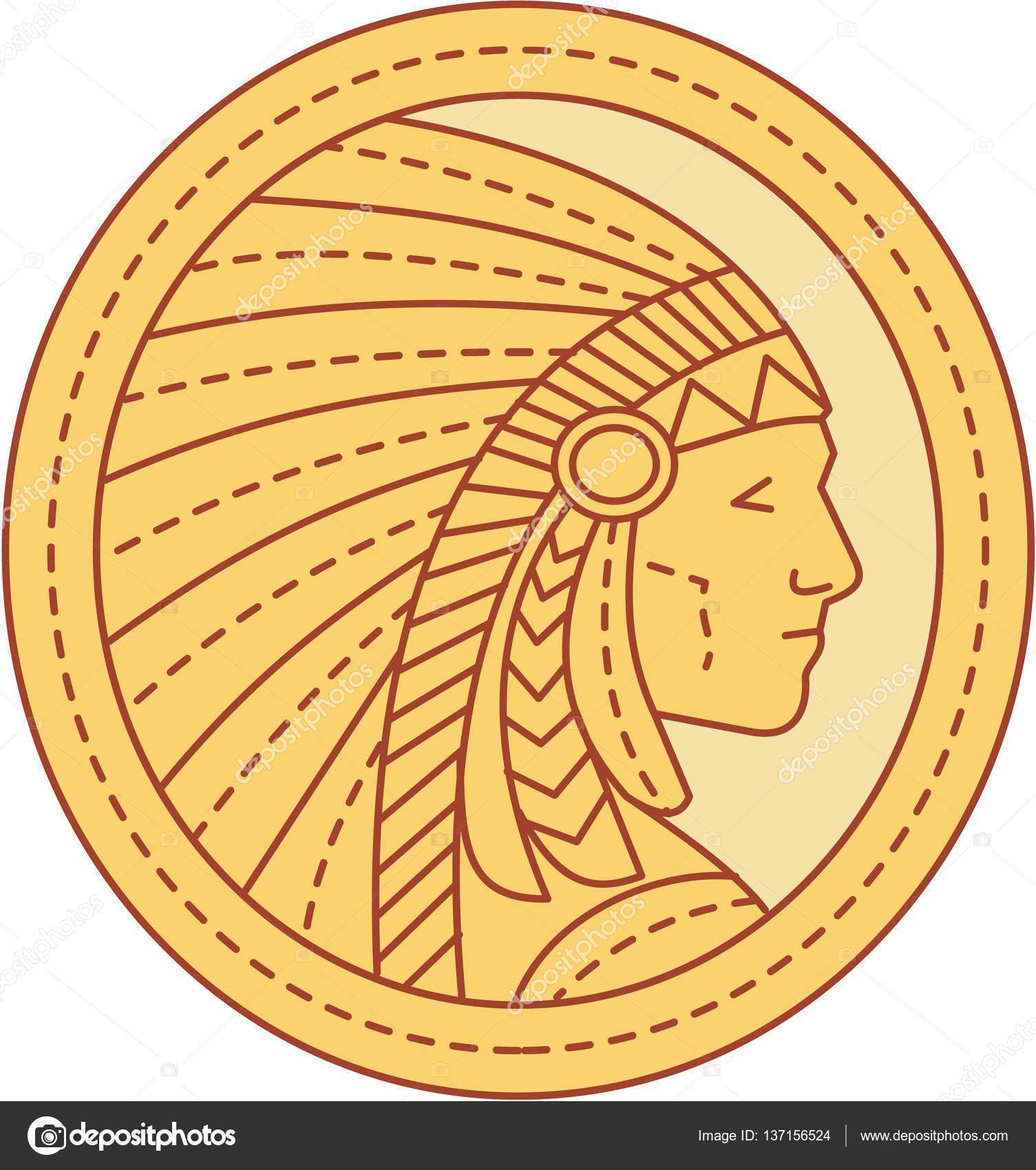 Native american indian chief warrior mono line stock vector native american indian chief warrior mono line stock vector buycottarizona Images