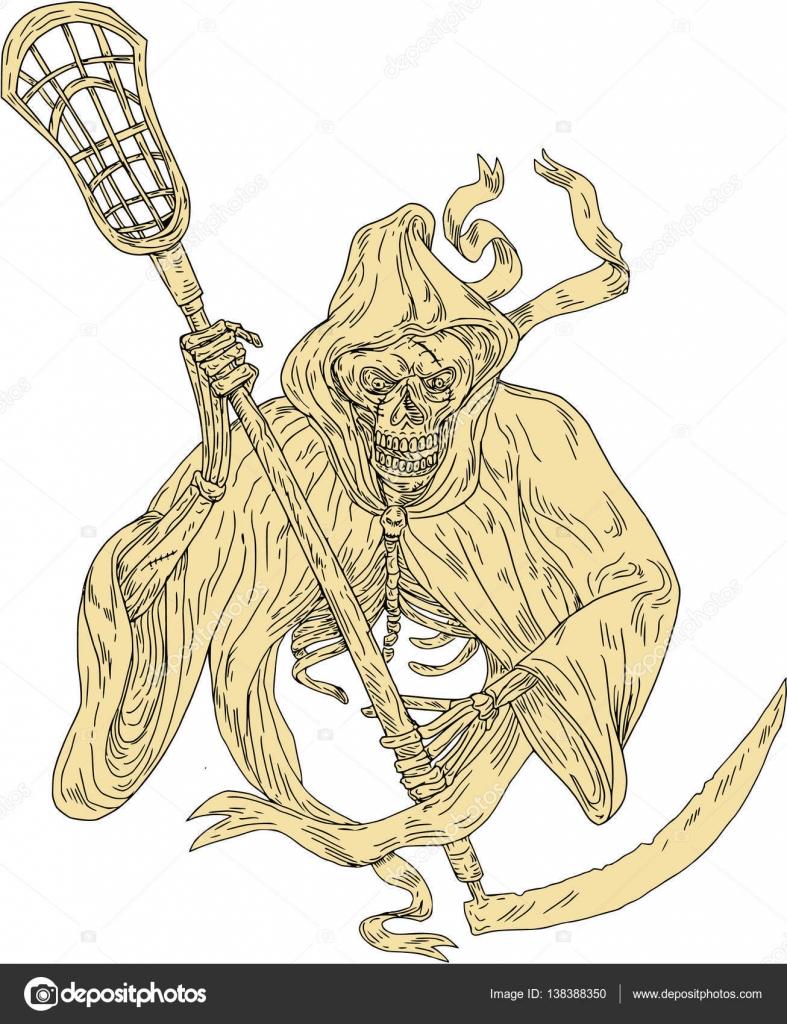 Grim Reaper Lacrosse Stick Drawing Stock Vector Patrimonio