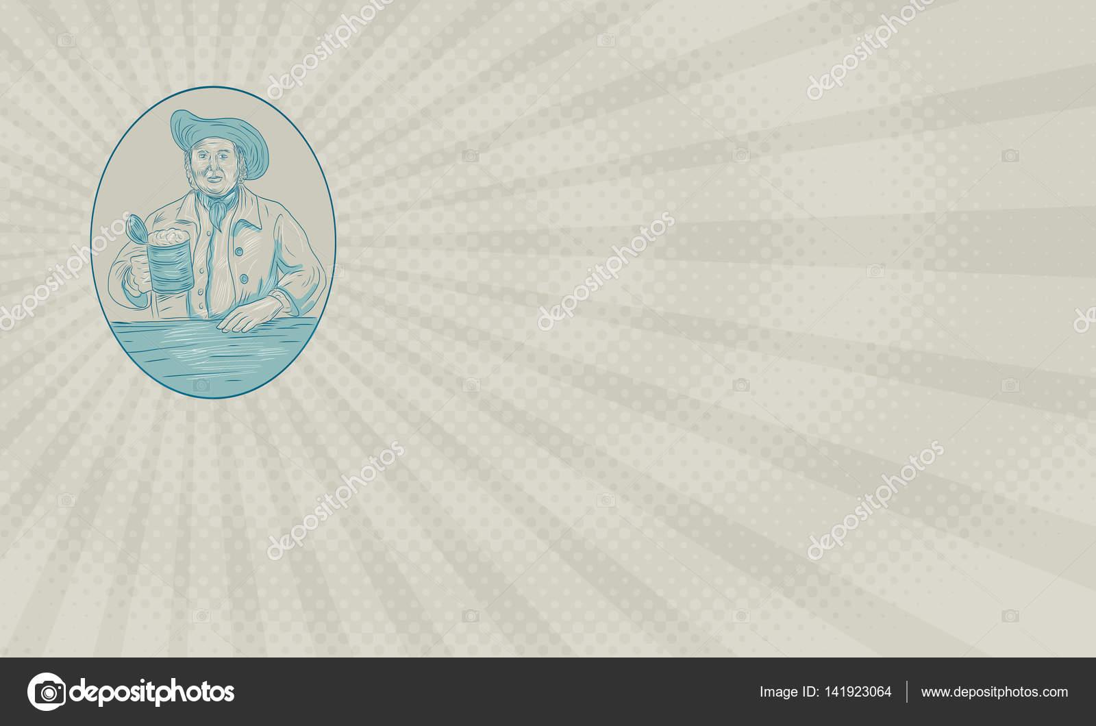 Carte De Visite Affichage Dessin Croquis Style Illustration Dun Buveur Bire Mdivale Gentilhomme Dtenant Ensemble Tankard Lintrieur Forme