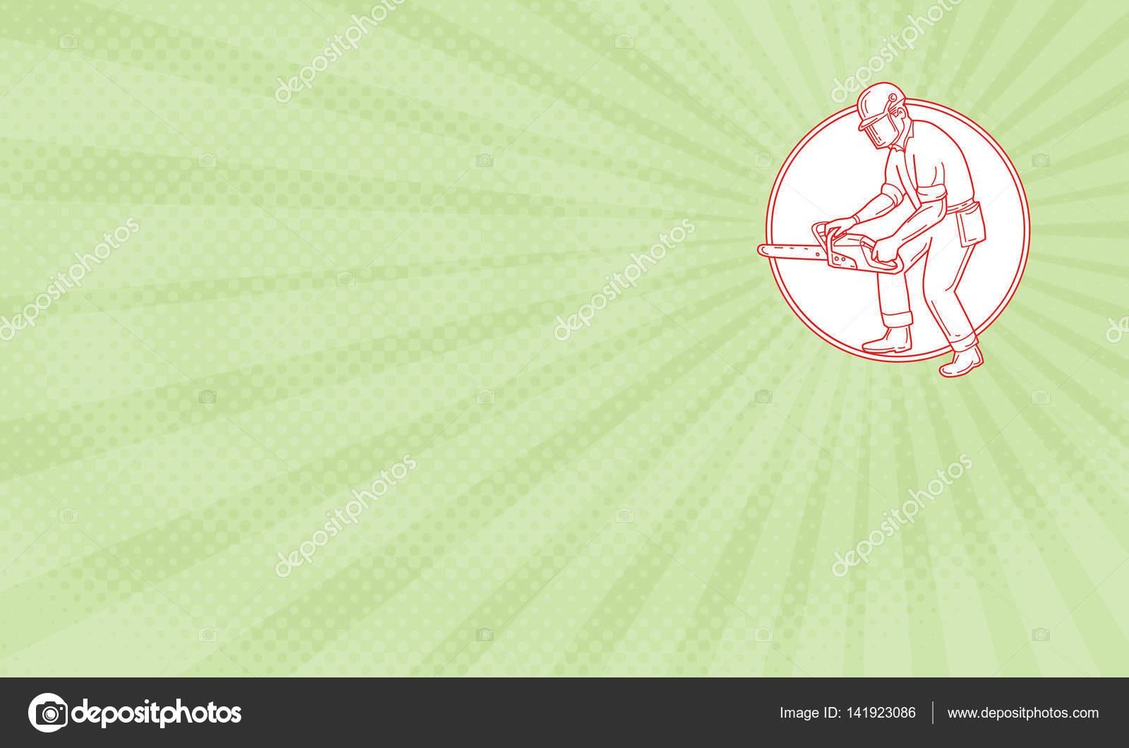 Carte De Visite Montrant Lillustration Style Ligne Mono Du Bucheron Elagage Arbre Chirurgien Portant Des Protections Casque Tenant Actionnant Une