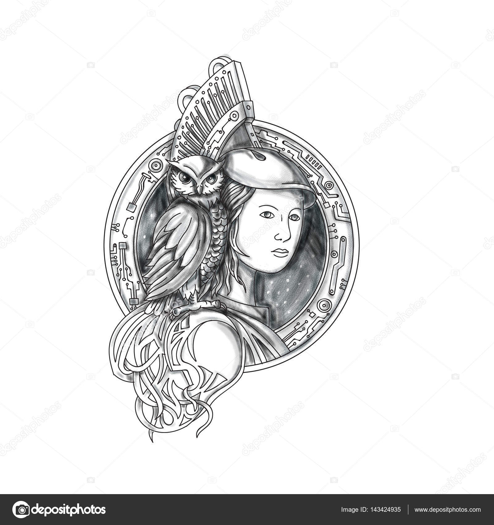 Athena Z Sową Na Ramieniu Tatuaż Elektroniczny Obwód Koła Zdjęcie