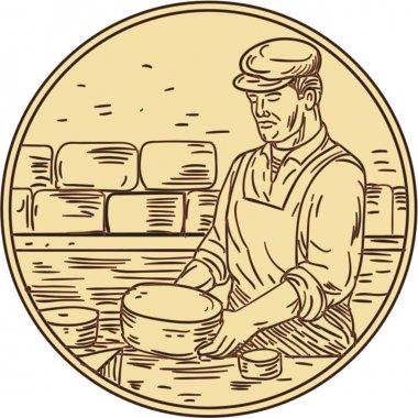 Cheesemaker Making Cheddar Cheese Circle Drawing