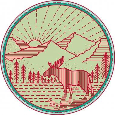 Moose River Mountains Sun Circle Mono line