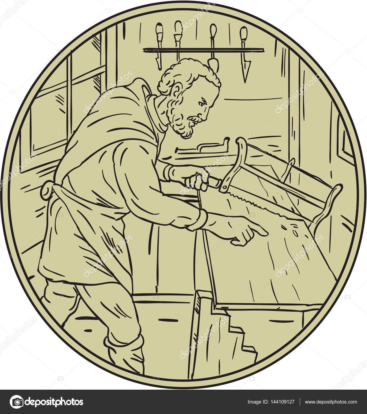 Mittelalterliche Schreiner Sagen Holz Kreis Retro Stockvektor