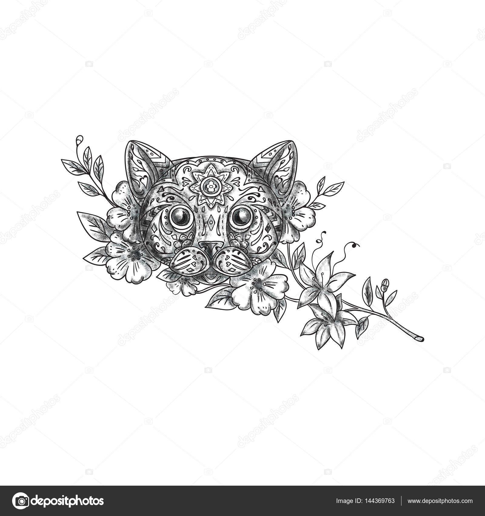 Cat head jasmine flower tattoo stock photo patrimonio 144369763 cat head jasmine flower tattoo stock photo izmirmasajfo