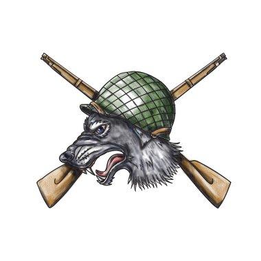 Grey Wolf WW2 Helmet Crossed Rifles Tattoo