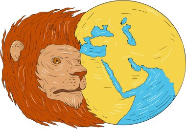 Lion Head Middle East Asia Map Globe Drawing