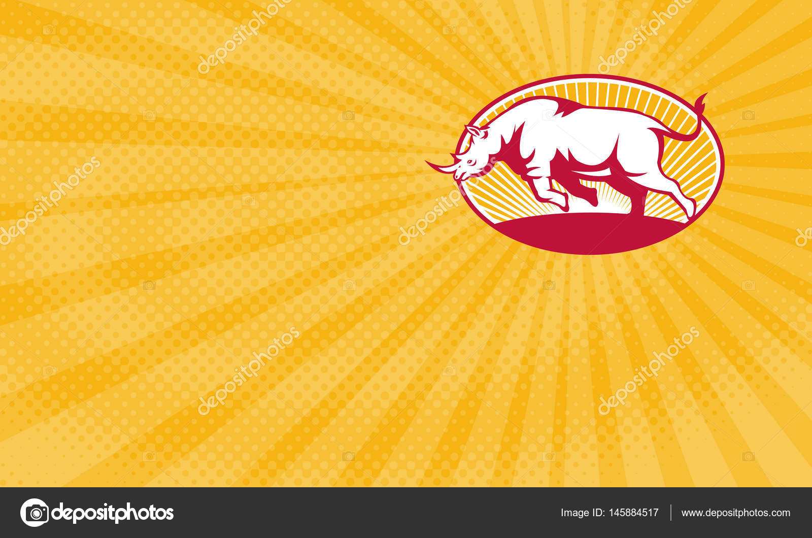Carte De Visite Montrant LIllustration Dun Rhinoceros Charge Vue Laterale Placee A Linterieur Lovale Fait Dans Un Style Retro Image Patrimonio