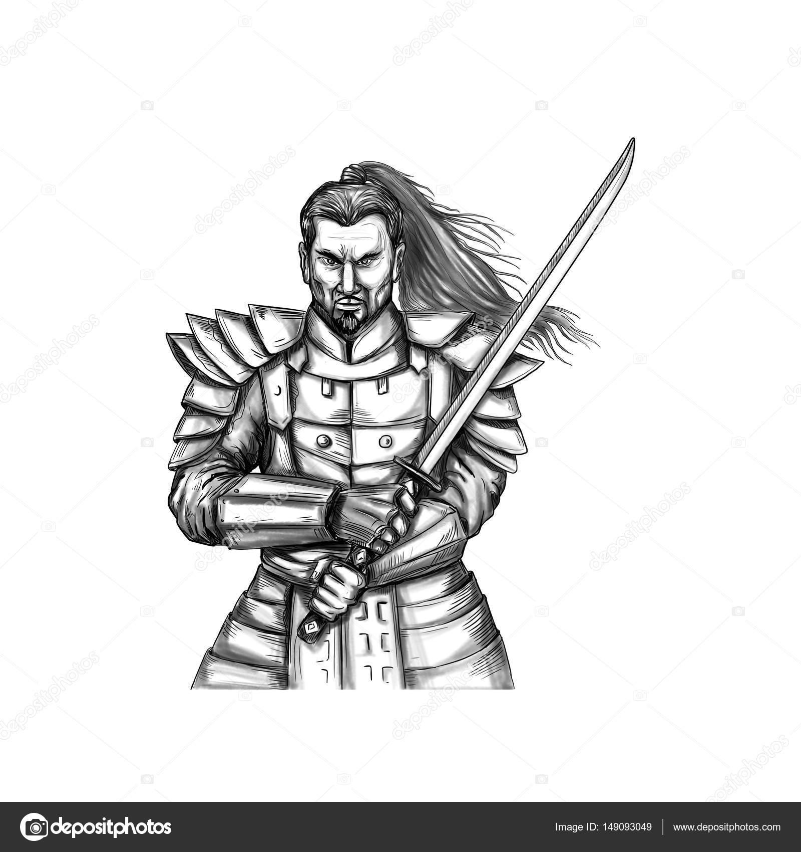 Dibujos Samurais Para Tatuajes Samurai Warrior Lucha Postura