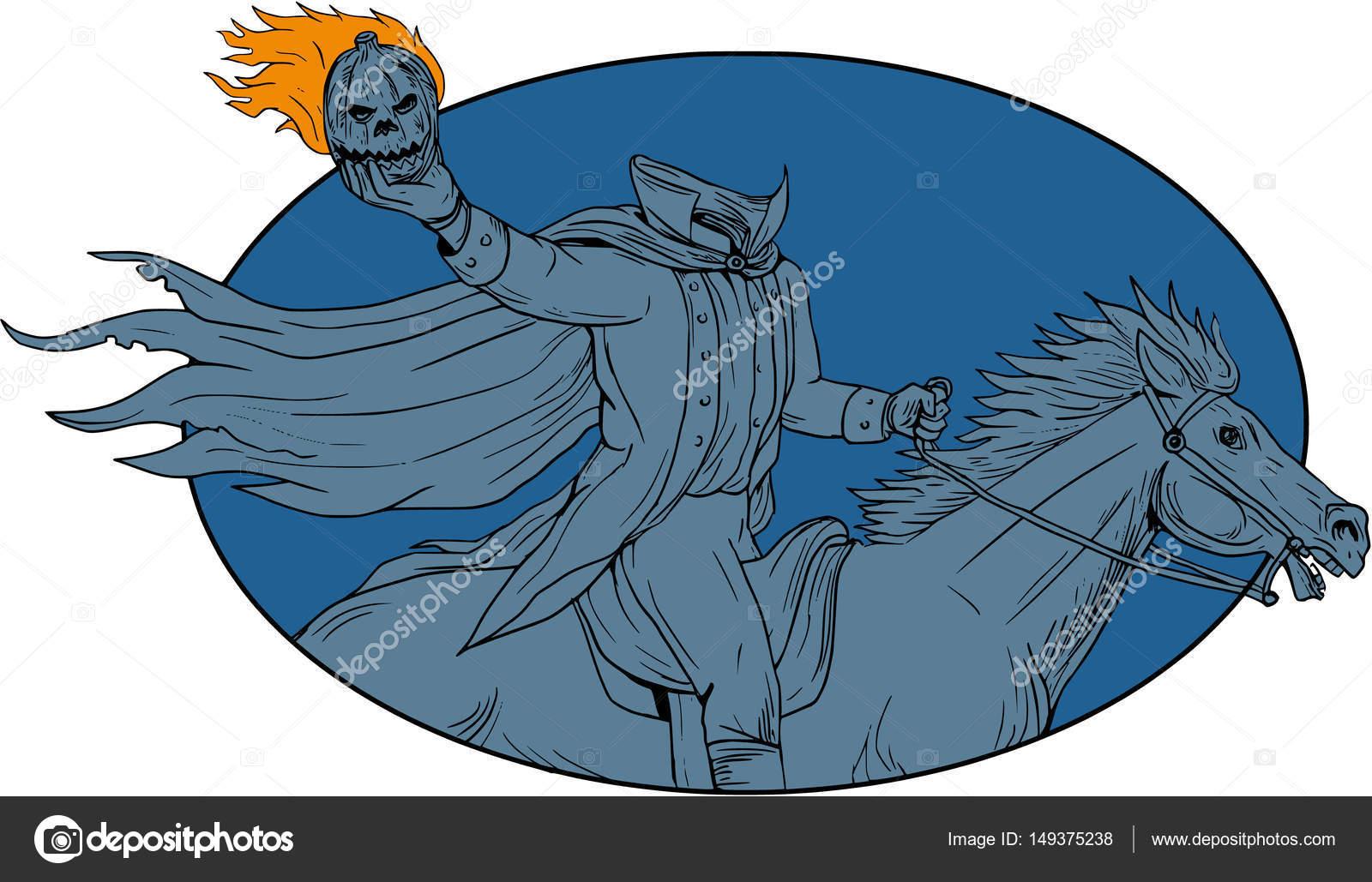 Jinete sin cabeza de calabaza caballo dibujo Oval — Archivo Imágenes ...